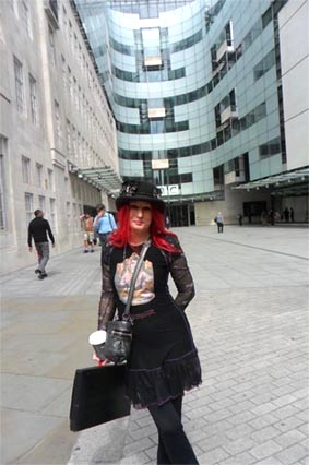 Beforehand...me outside the BBC, Portland Place