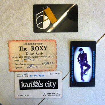 ROXY, Max Kansas City and Studio 54 membership cards - courtesy of Greg Rose