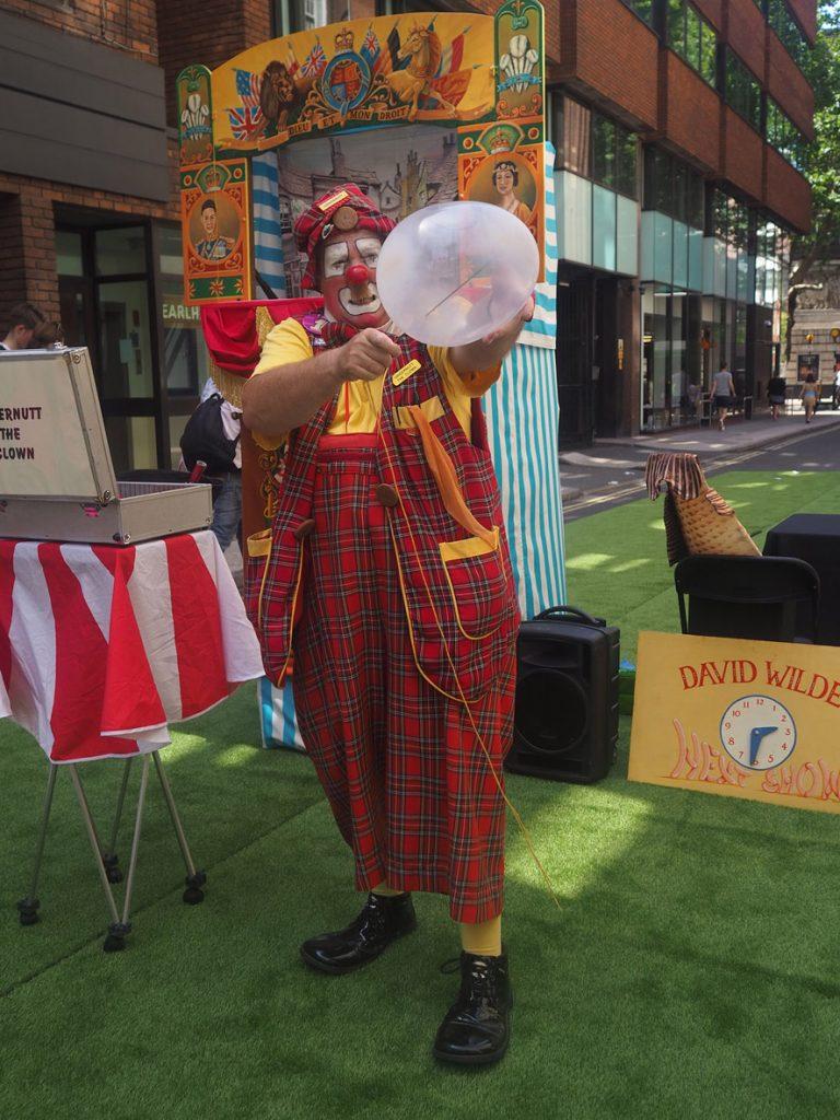 Gingernutt the Clown at Seven Dials Sundial Pillar 30th birthday