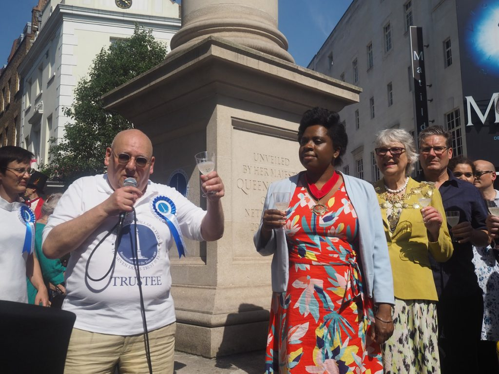 Seven Dials Trust toast to the Sundial Pillar 30th birthday