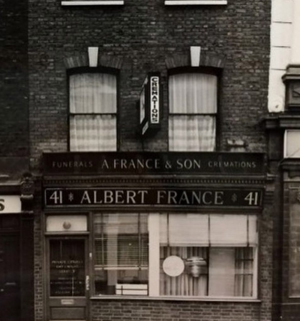 A France undertakers at 41 Monmouth Street Seven Dials