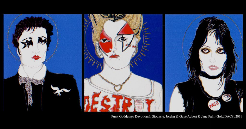 Jane Palm-Gold artwork of women Punk icons and musicians Jordan, Siouxsie and Gaye Advert
