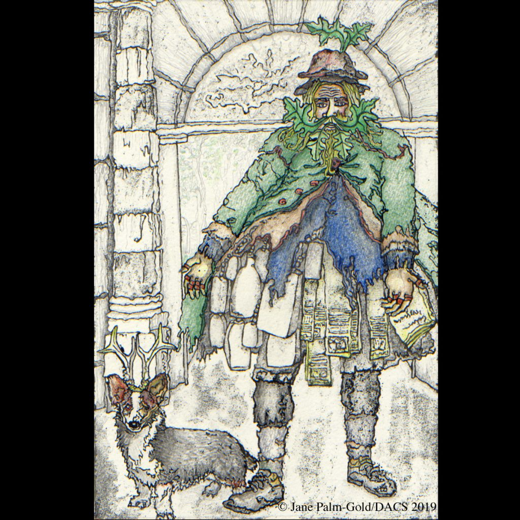 Jane Palm-Gold artwork of Old Simon Eedy 18th century St. Giles beggar and drover's dog Rover