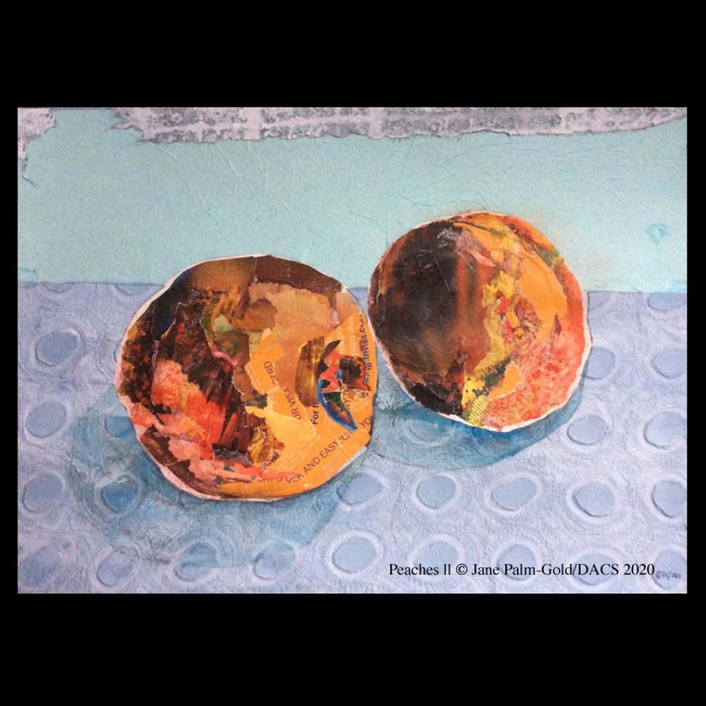 Jane Palm-Gold artwork of a collage of two peaches on a tablecloth
