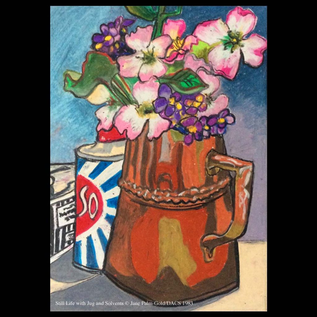 Jane Palm-Gold artwork of a jug of flowers and solvents